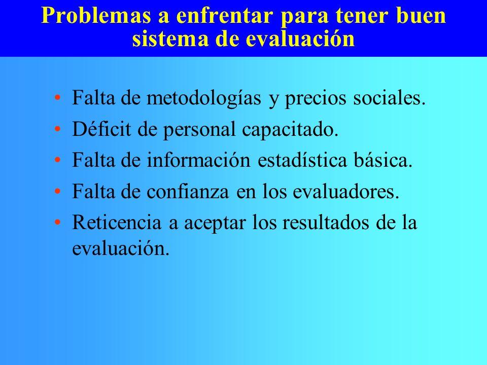 Problemas a enfrentar para tener buen sistema de evaluación Falta de metodologías y precios sociales. Déficit de personal capacitado. Falta de informa