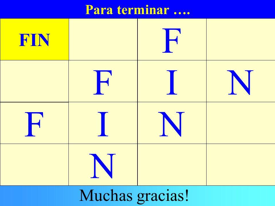 Para terminar …. FIN F IN N F F N I Muchas gracias!