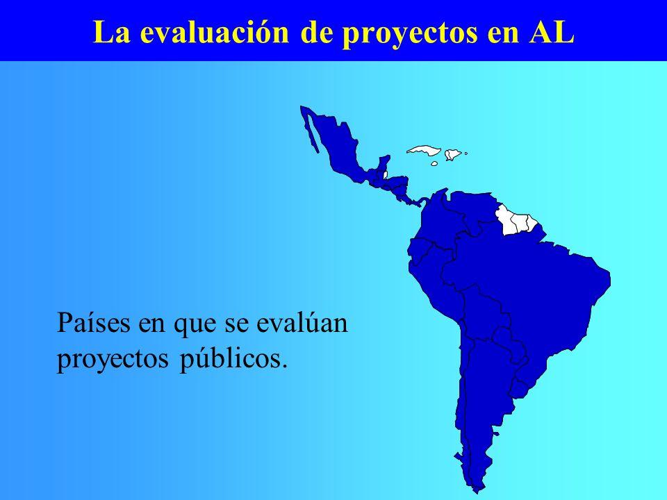 La evaluación de proyectos en AL Países en que se evalúan proyectos públicos.