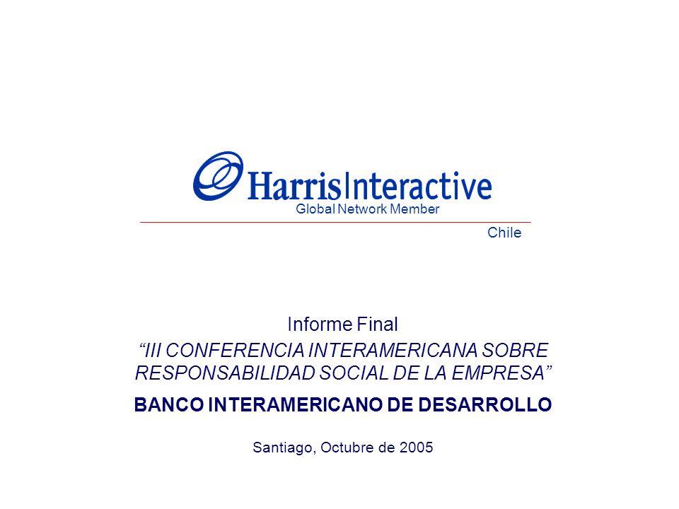 Informe Final III CONFERENCIA INTERAMERICANA SOBRE RESPONSABILIDAD SOCIAL DE LA EMPRESA BANCO INTERAMERICANO DE DESARROLLO Santiago, Octubre de 2005 Global Network Member Chile