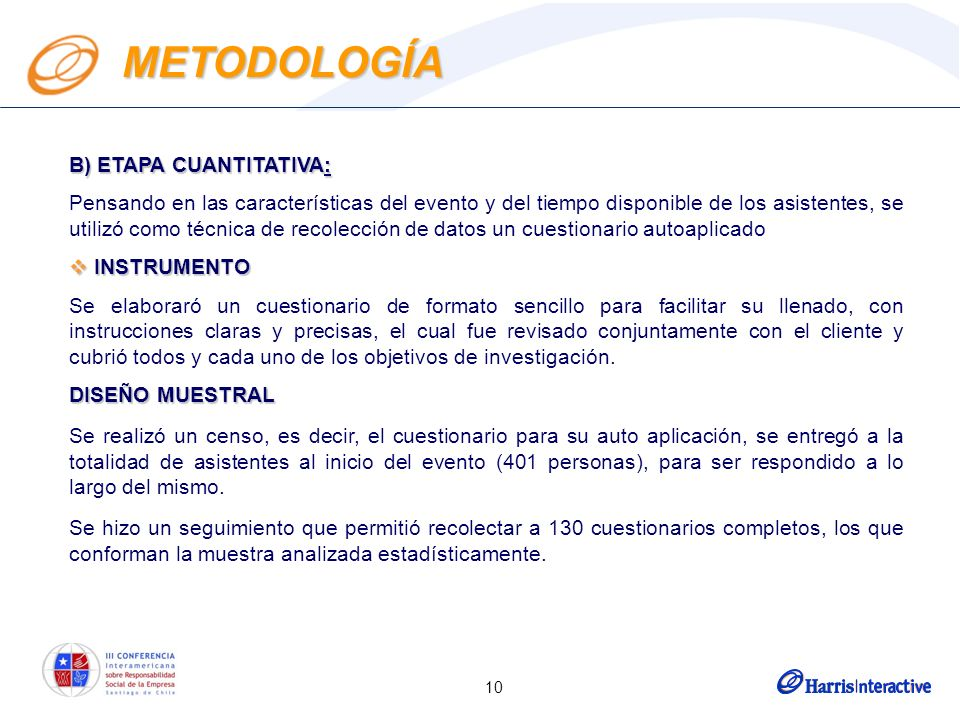 10 METODOLOGÍA B) ETAPA CUANTITATIVA: Pensando en las características del evento y del tiempo disponible de los asistentes, se utilizó como técnica de