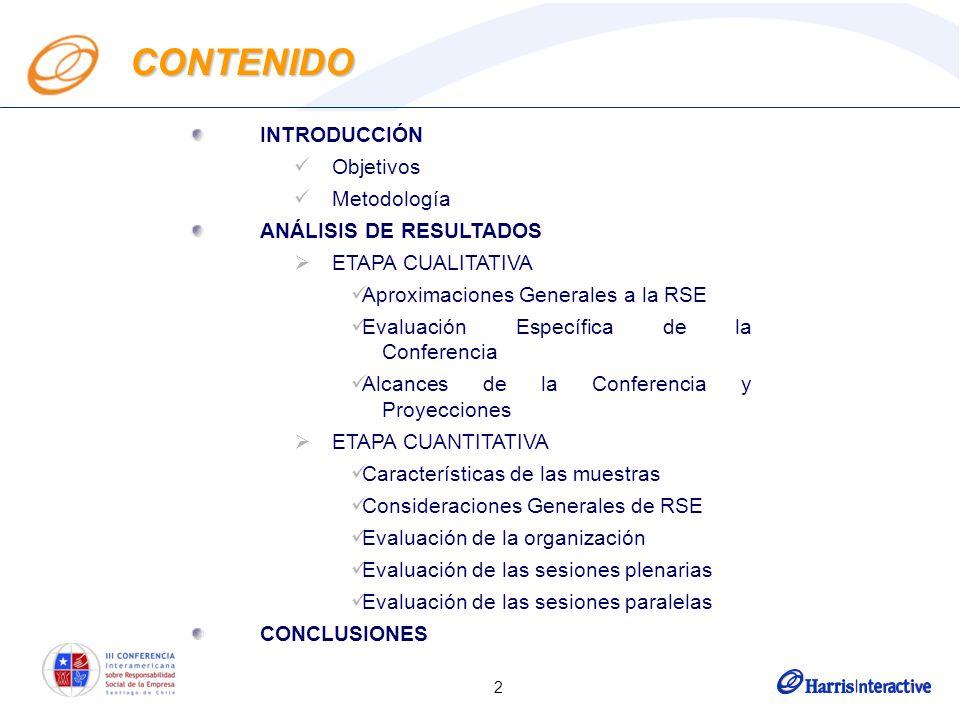 2 INTRODUCCIÓN Objetivos Metodología ANÁLISIS DE RESULTADOS ETAPA CUALITATIVA Aproximaciones Generales a la RSE Evaluación Específica de la Conferencia Alcances de la Conferencia y Proyecciones ETAPA CUANTITATIVA Características de las muestras Consideraciones Generales de RSE Evaluación de la organización Evaluación de las sesiones plenarias Evaluación de las sesiones paralelas CONCLUSIONES CONTENIDO