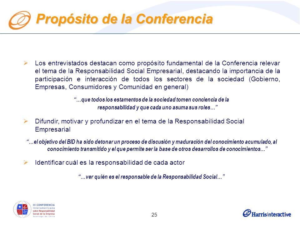 25 Los entrevistados destacan como propósito fundamental de la Conferencia relevar el tema de la Responsabilidad Social Empresarial, destacando la imp