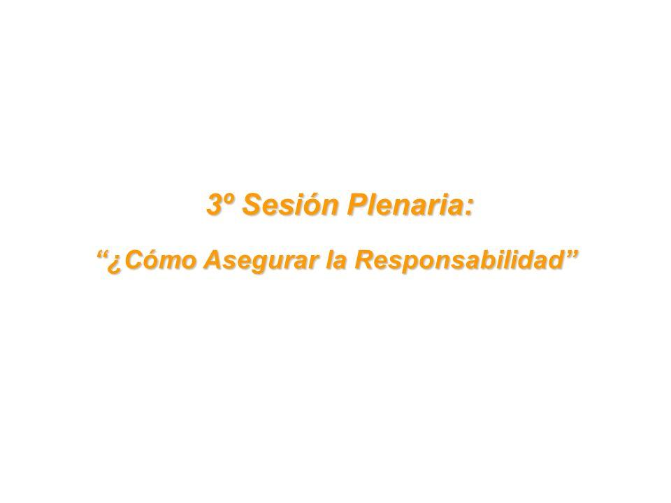 3º Sesión Plenaria: 3º Sesión Plenaria: ¿Cómo Asegurar la Responsabilidad
