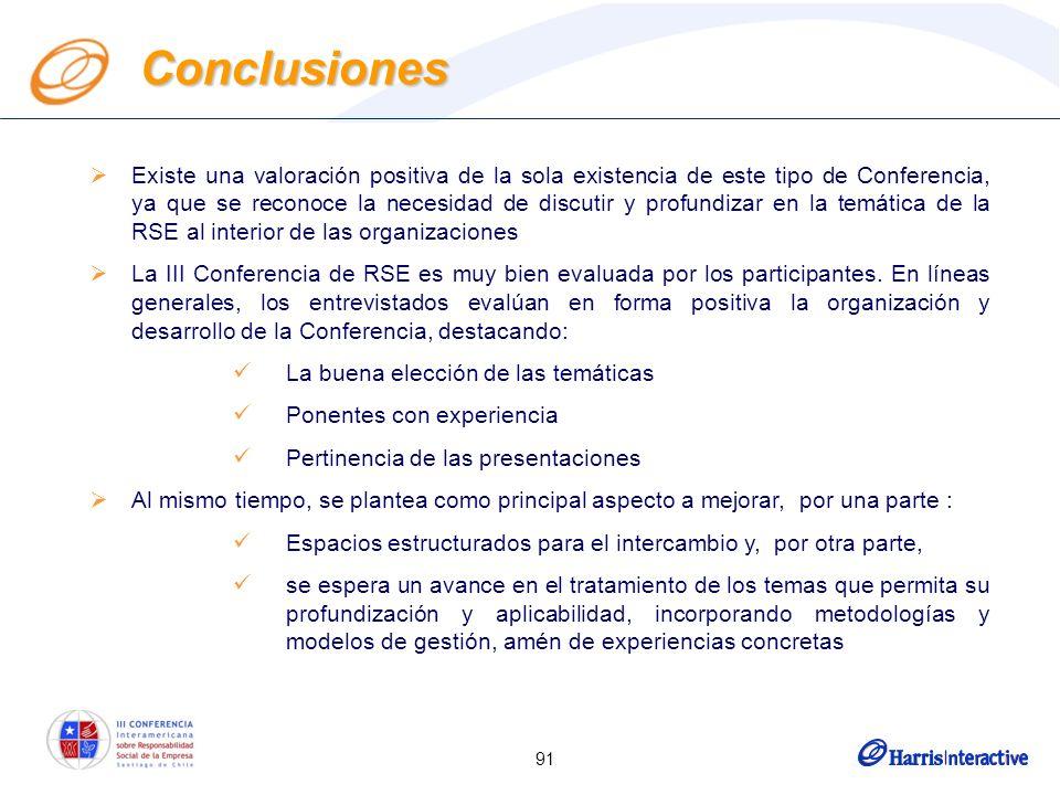 91 Existe una valoración positiva de la sola existencia de este tipo de Conferencia, ya que se reconoce la necesidad de discutir y profundizar en la temática de la RSE al interior de las organizaciones La III Conferencia de RSE es muy bien evaluada por los participantes.