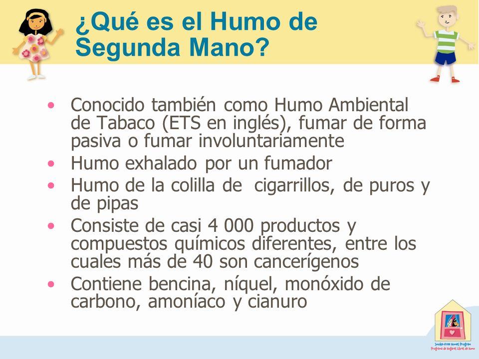 ¿Qué es el Humo de Segunda Mano? Conocido también como Humo Ambiental de Tabaco (ETS en inglés), fumar de forma pasiva o fumar involuntariamente Humo