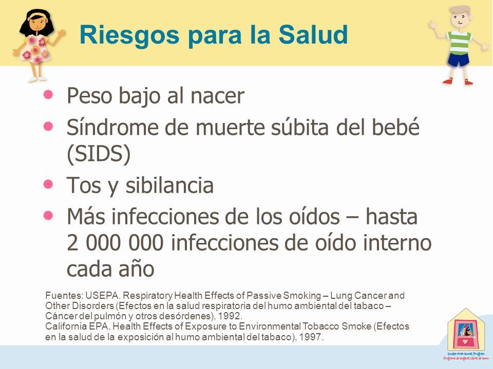 Riesgos para la Salud Peso bajo al nacer Síndrome de muerte súbita del bebé (SIDS) Tos y sibilancia Más infecciones de los oídos – hasta 2 000 000 inf
