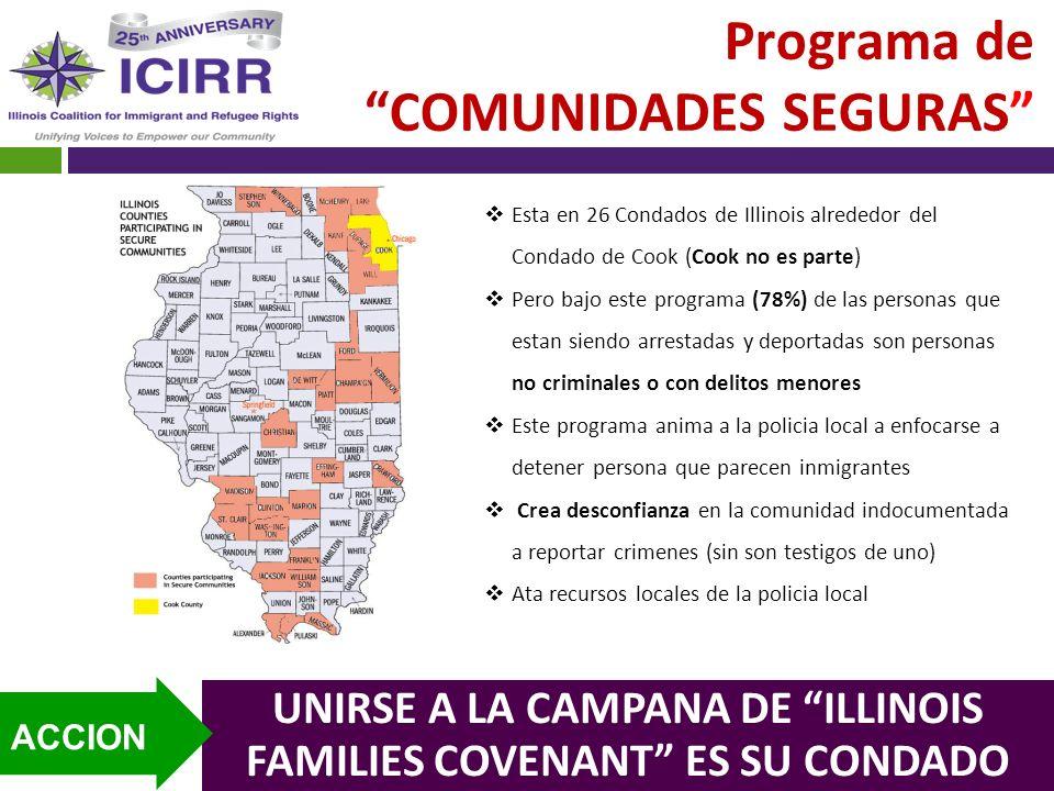 Programa de COMUNIDADES SEGURAS Esta en 26 Condados de Illinois alrededor del Condado de Cook (Cook no es parte) Pero bajo este programa (78%) de las