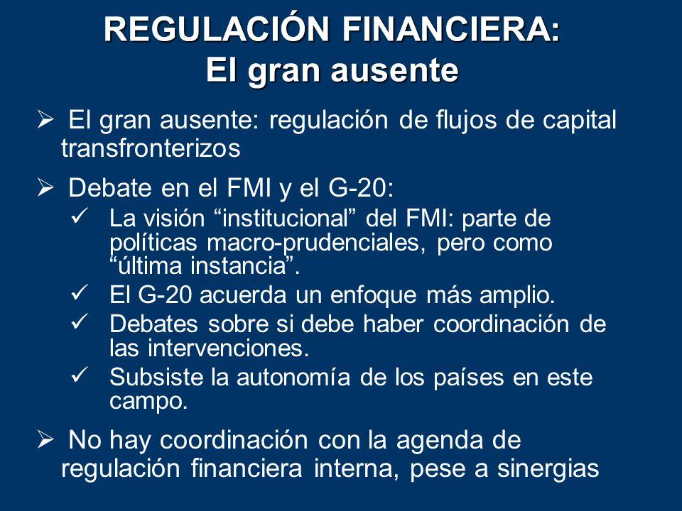 REGULACIÓN FINANCIERA: El gran ausente El gran ausente: regulación de flujos de capital transfronterizos Debate en el FMI y el G-20: La visión institu