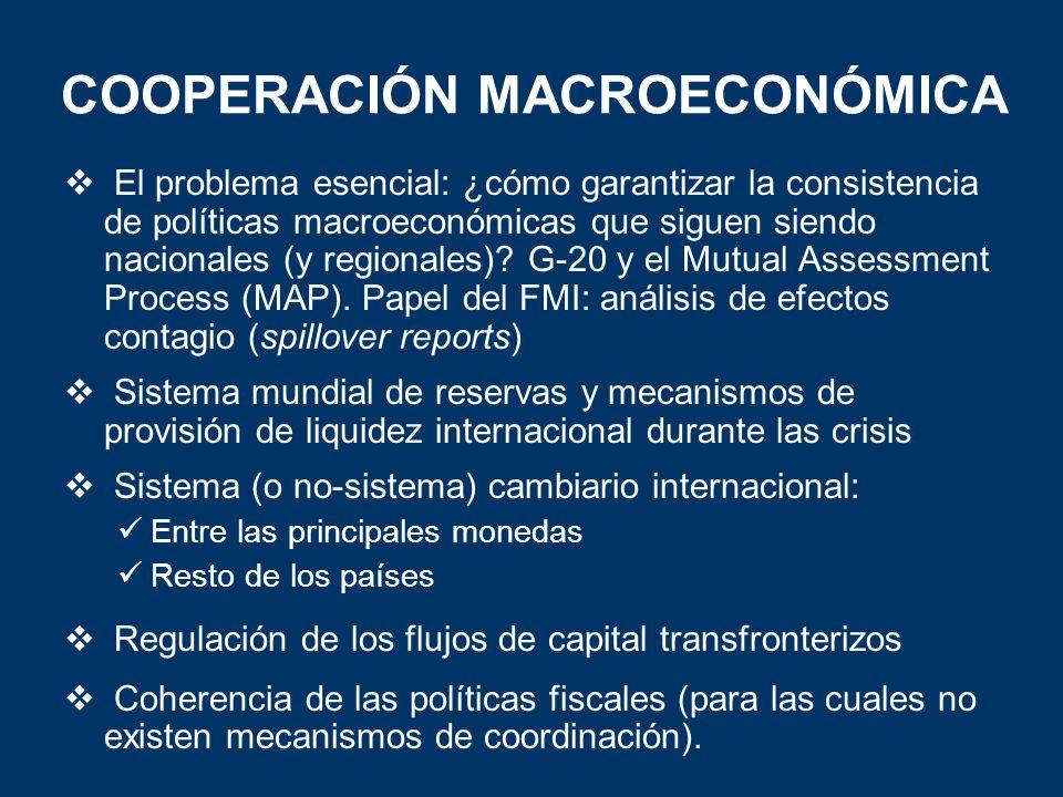 COOPERACIÓN MACROECONÓMICA El problema esencial: ¿cómo garantizar la consistencia de políticas macroeconómicas que siguen siendo nacionales (y regiona