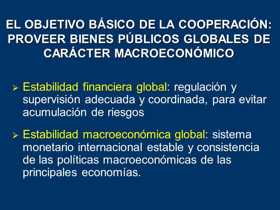 EL OBJETIVO BÁSICO DE LA COOPERACIÓN: PROVEER BIENES PÚBLICOS GLOBALES DE CARÁCTER MACROECONÓMICO Estabilidad financiera global: regulación y supervis