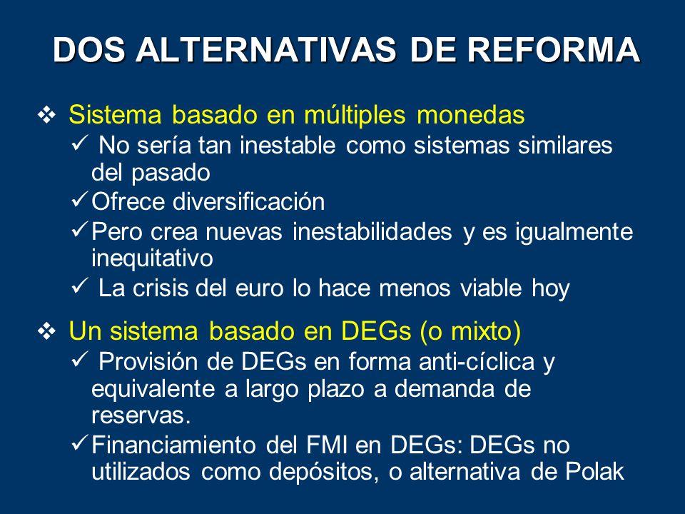 DOS ALTERNATIVAS DE REFORMA Sistema basado en múltiples monedas No sería tan inestable como sistemas similares del pasado Ofrece diversificación Pero