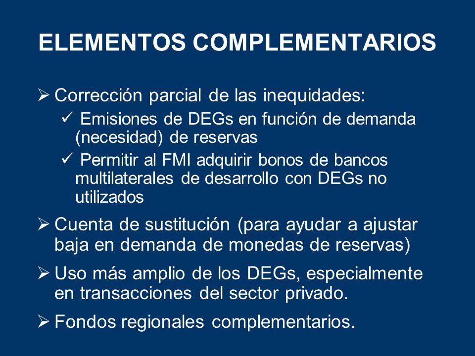 ELEMENTOS COMPLEMENTARIOS Corrección parcial de las inequidades: Emisiones de DEGs en función de demanda (necesidad) de reservas Permitir al FMI adqui