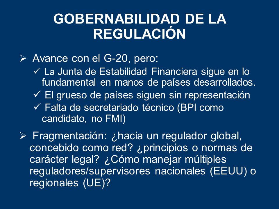 GOBERNABILIDAD DE LA REGULACIÓN Avance con el G-20, pero: La Junta de Estabilidad Financiera sigue en lo fundamental en manos de países desarrollados.