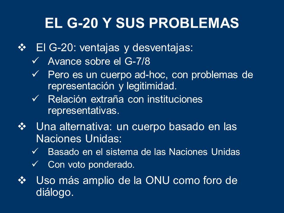 EL G-20 Y SUS PROBLEMAS El G-20: ventajas y desventajas: Avance sobre el G-7/8 Pero es un cuerpo ad-hoc, con problemas de representación y legitimidad