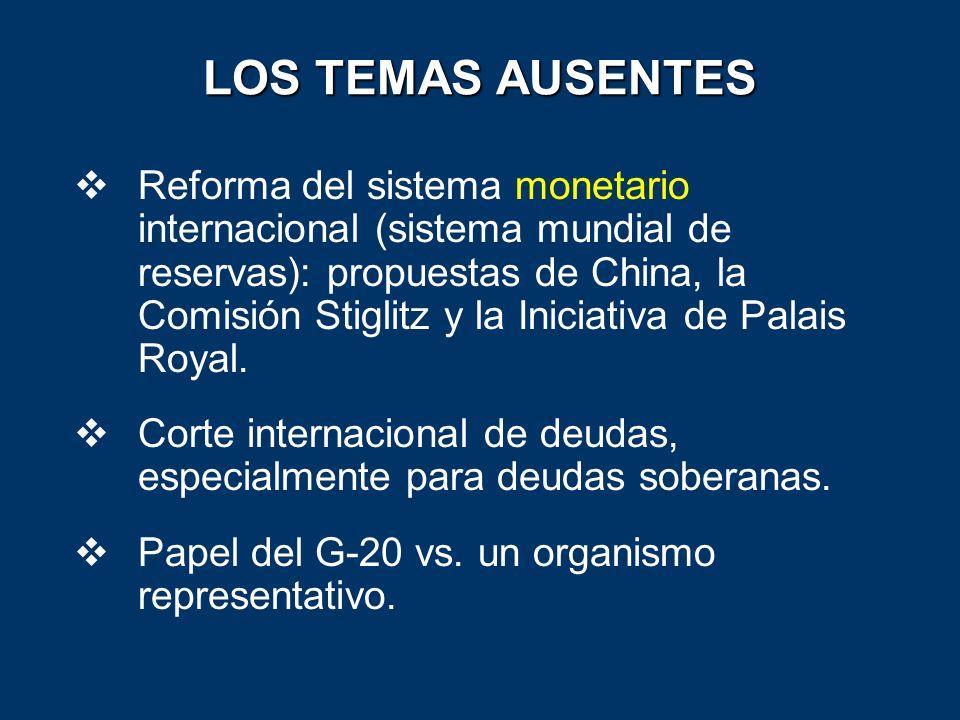 LOS TEMAS AUSENTES Reforma del sistema monetario internacional (sistema mundial de reservas): propuestas de China, la Comisión Stiglitz y la Iniciativ