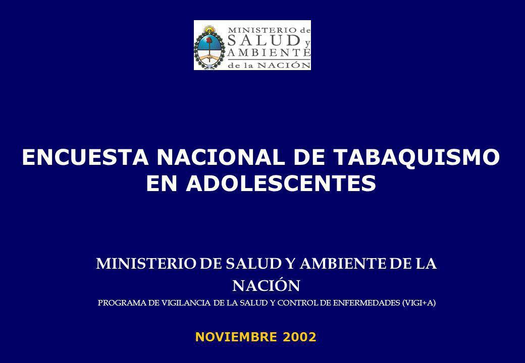 MINISTERIO DE SALUD Y AMBIENTE DE LA NACIÓN PROGRAMA DE VIGILANCIA DE LA SALUD Y CONTROL DE ENFERMEDADES (VIGI+A) ENCUESTA NACIONAL DE TABAQUISMO EN ADOLESCENTES NOVIEMBRE 2002