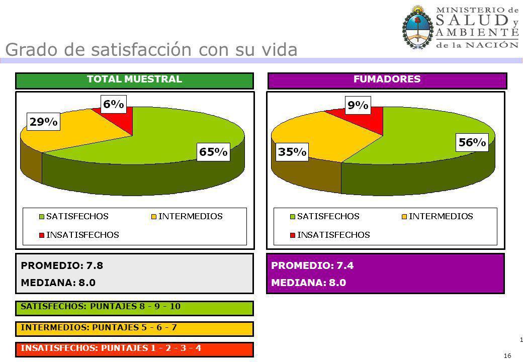 16 Grado de satisfacción con su vida TOTAL MUESTRALFUMADORES PROMEDIO: 7.8 MEDIANA: 8.0 PROMEDIO: 7.4 MEDIANA: 8.0 SATISFECHOS: PUNTAJES 8 - 9 - 10 INTERMEDIOS: PUNTAJES 5 - 6 - 7 INSATISFECHOS: PUNTAJES 1 - 2 - 3 - 4 16