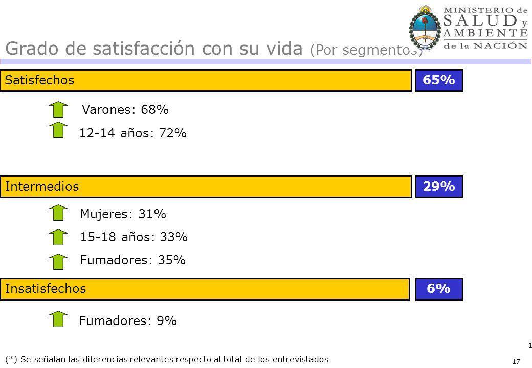17 Satisfechos65% 29% (*) Se señalan las diferencias relevantes respecto al total de los entrevistados Grado de satisfacción con su vida (Por segmento