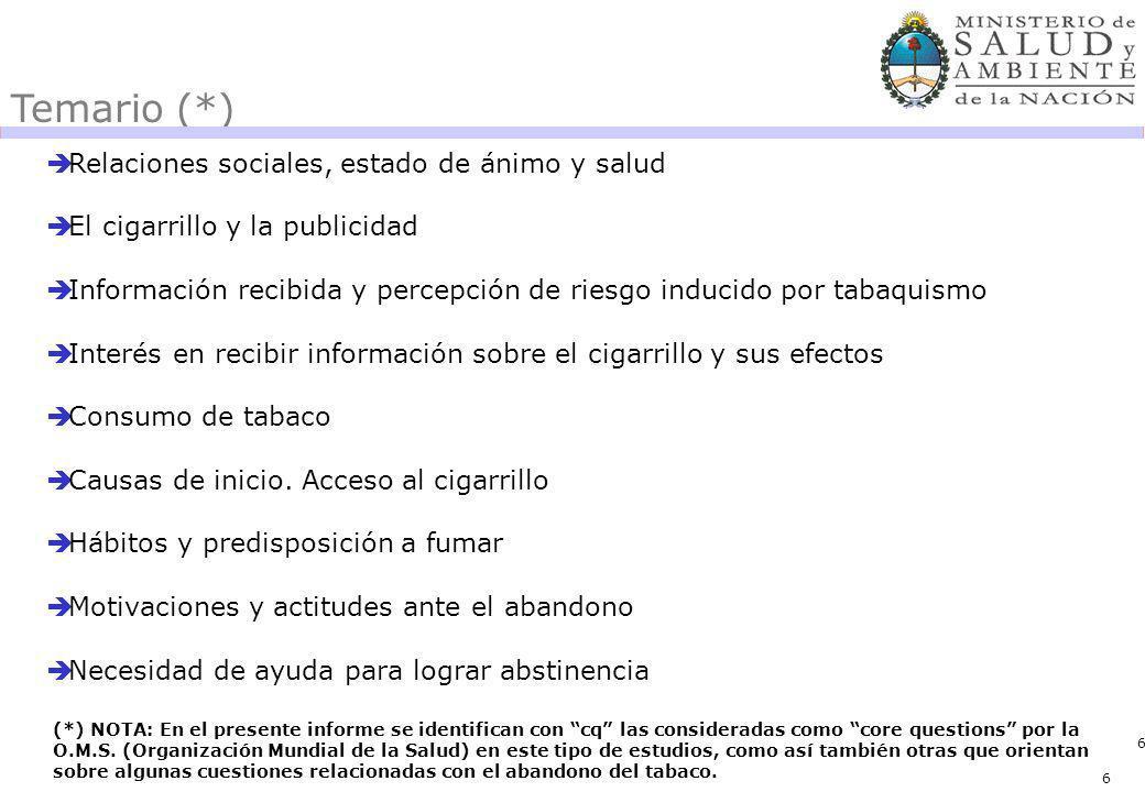 6 Temario (*) Relaciones sociales, estado de ánimo y salud El cigarrillo y la publicidad Información recibida y percepción de riesgo inducido por tabaquismo Interés en recibir información sobre el cigarrillo y sus efectos Consumo de tabaco Causas de inicio.