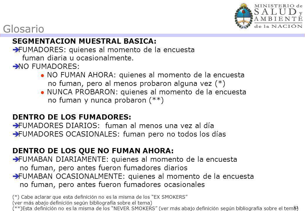 81 Glosario SEGMENTACION MUESTRAL BASICA: FUMADORES: quienes al momento de la encuesta fuman diaria u ocasionalmente.
