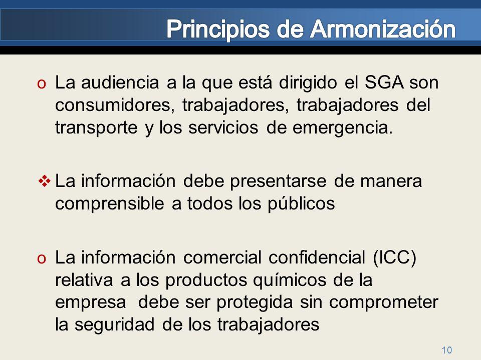 10 o La audiencia a la que está dirigido el SGA son consumidores, trabajadores, trabajadores del transporte y los servicios de emergencia. La informac