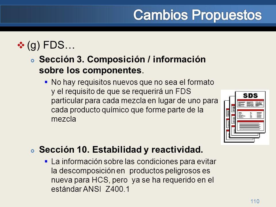 (g) FDS… Sección 3. Composición / información sobre los componentes. No hay requisitos nuevos que no sea el formato y el requisito de que se requerirá