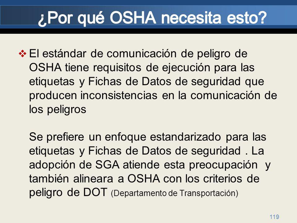 119 El estándar de comunicación de peligro de OSHA tiene requisitos de ejecución para las etiquetas y Fichas de Datos de seguridad que producen incons