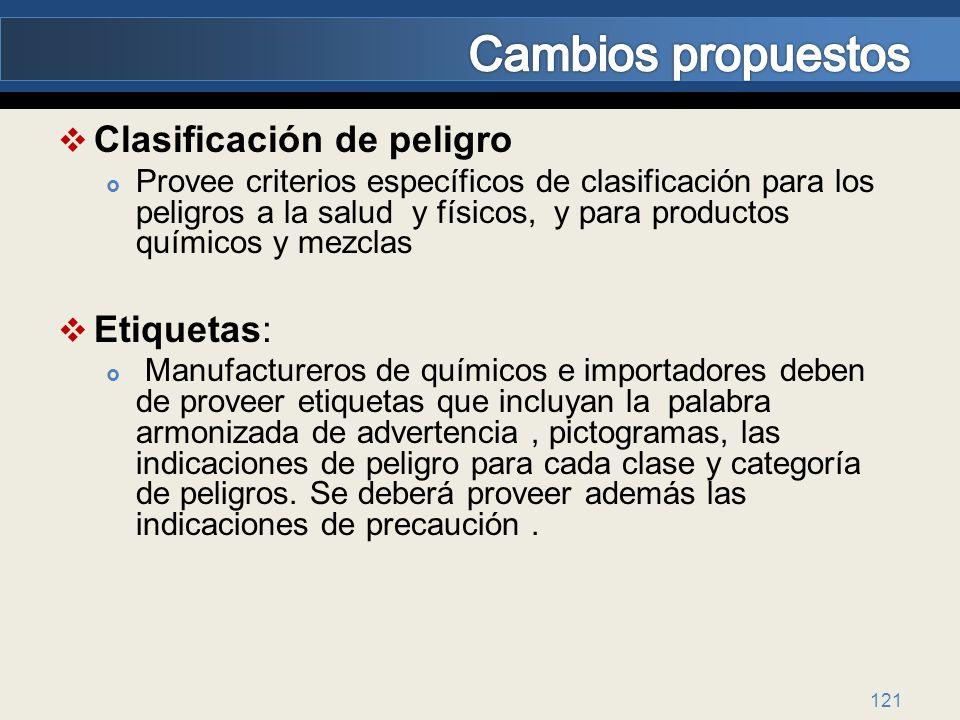 121 Clasificación de peligro Provee criterios específicos de clasificación para los peligros a la salud y físicos, y para productos químicos y mezclas