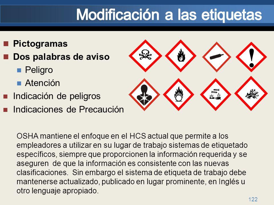 122 Pictogramas Dos palabras de aviso Peligro Atención Indicación de peligros Indicaciones de Precaución ! OSHA mantiene el enfoque en el HCS actual q
