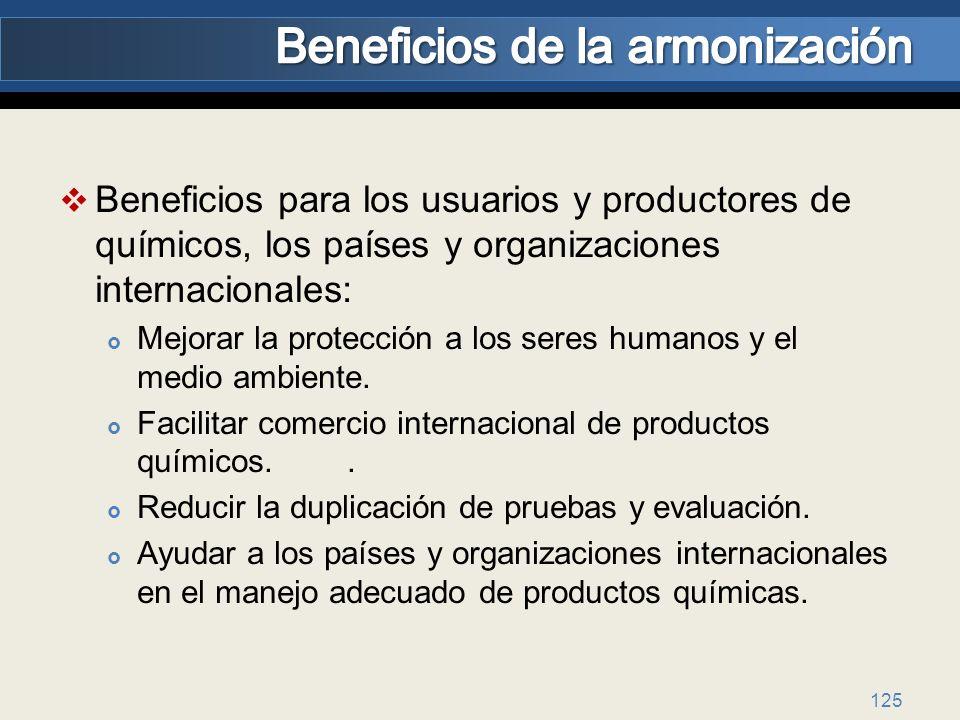 125 Beneficios para los usuarios y productores de químicos, los países y organizaciones internacionales: Mejorar la protección a los seres humanos y e