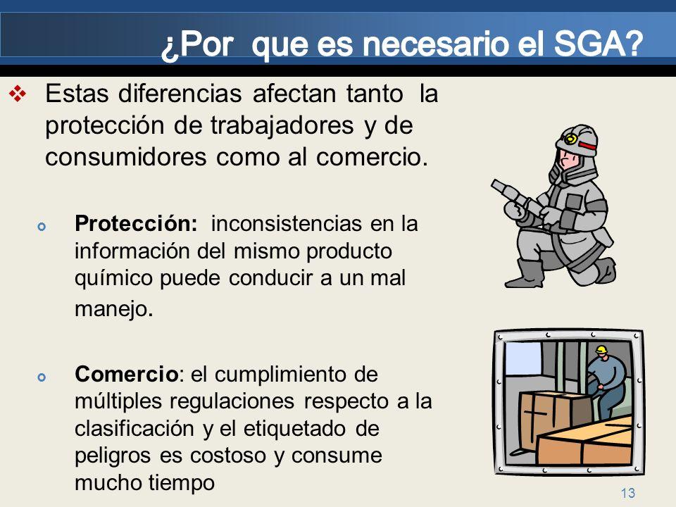 13 Estas diferencias afectan tanto la protección de trabajadores y de consumidores como al comercio. Protección: inconsistencias en la información del