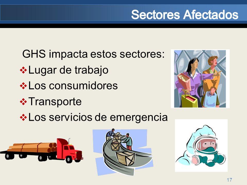 17 GHS impacta estos sectores: Lugar de trabajo Los consumidores Transporte Los servicios de emergencia