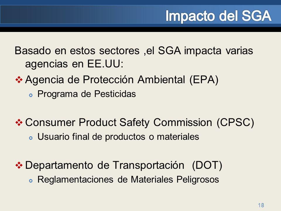 18 Basado en estos sectores,el SGA impacta varias agencias en EE.UU: Agencia de Protección Ambiental (EPA) Programa de Pesticidas Consumer Product Saf