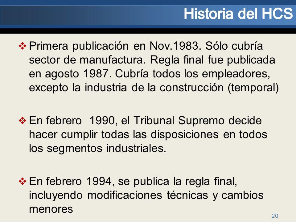 20 Primera publicación en Nov.1983. Sólo cubría sector de manufactura. Regla final fue publicada en agosto 1987. Cubría todos los empleadores, excepto