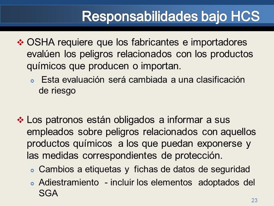 OSHA requiere que los fabricantes e importadores evalúen los peligros relacionados con los productos químicos que producen o importan. Esta evaluación
