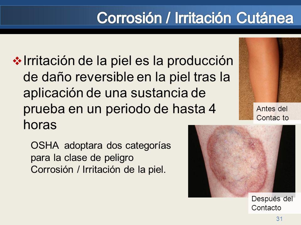 31 Irritación de la piel es la producción de daño reversible en la piel tras la aplicación de una sustancia de prueba en un periodo de hasta 4 horas A