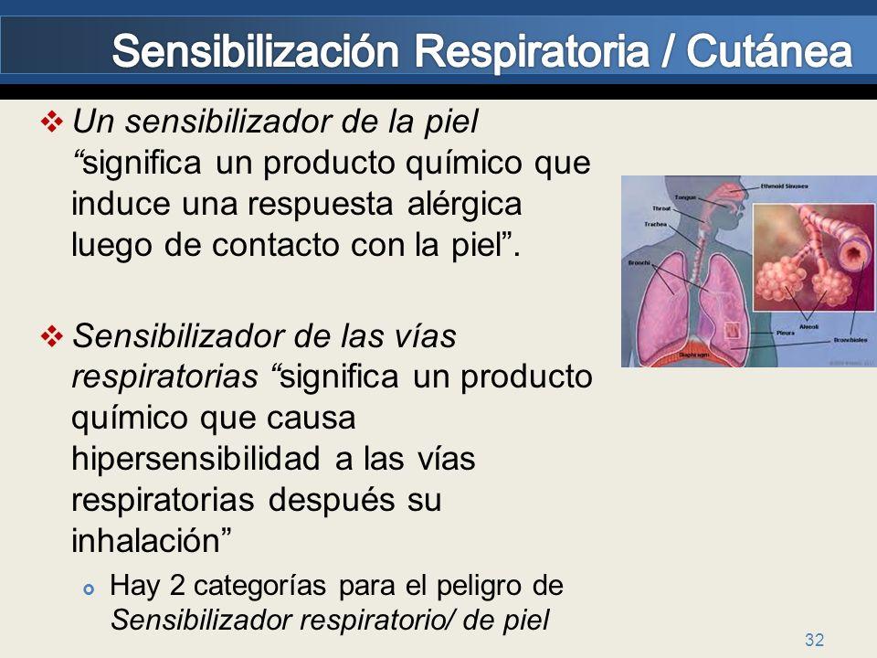 32 Un sensibilizador de la pielsignifica un producto químico que induce una respuesta alérgica luego de contacto con la piel. Sensibilizador de las ví