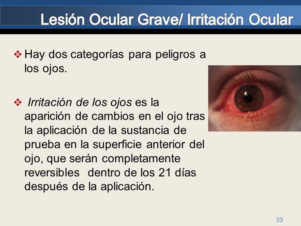 33 Hay dos categorías para peligros a los ojos. Irritación de los ojos es la aparición de cambios en el ojo tras la aplicación de la sustancia de prue