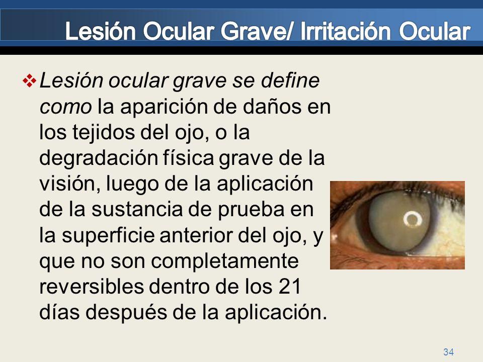 34 Lesión ocular grave se define como la aparición de daños en los tejidos del ojo, o la degradación física grave de la visión, luego de la aplicación