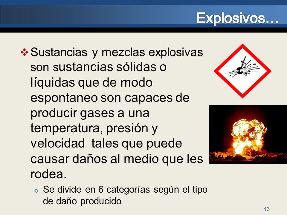 43 Sustancias y mezclas explosivas son s ustancias sólidas o líquidas que de modo espontaneo son capaces de producir gases a una temperatura, presión
