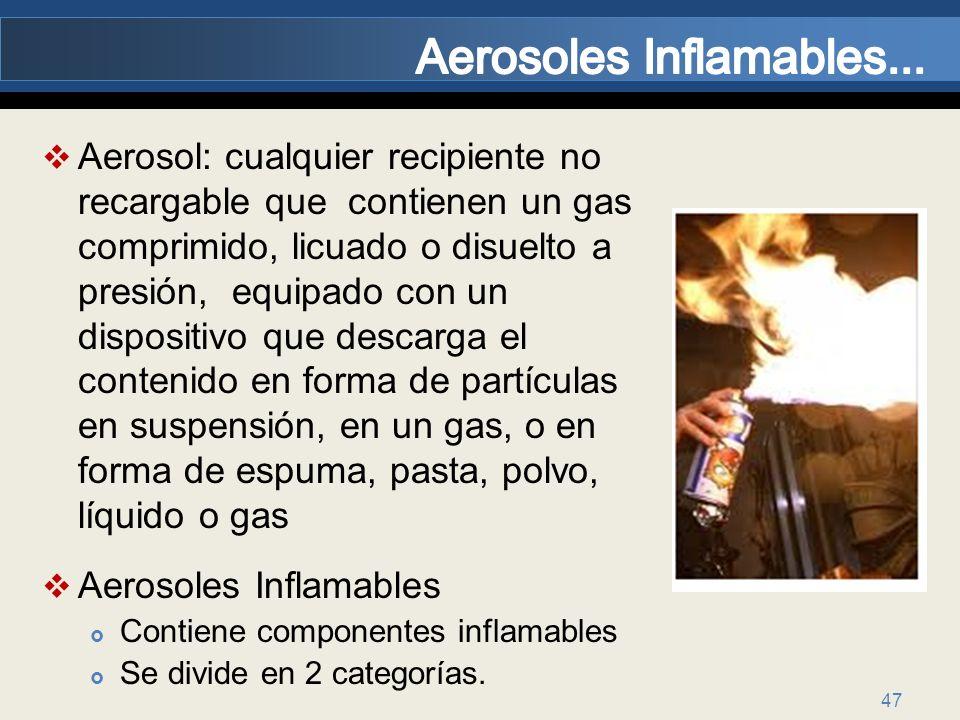 47 Aerosol: cualquier recipiente no recargable que contienen un gas comprimido, licuado o disuelto a presión, equipado con un dispositivo que descarga