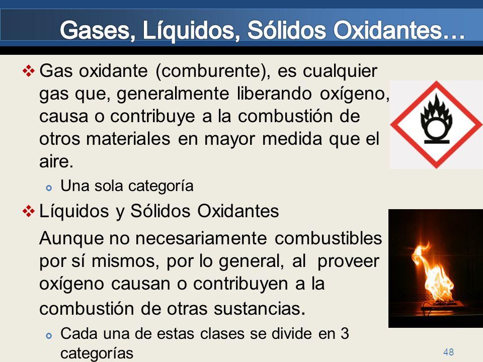 48 Gas oxidante (comburente), es cualquier gas que, generalmente liberando oxígeno, causa o contribuye a la combustión de otros materiales en mayor me