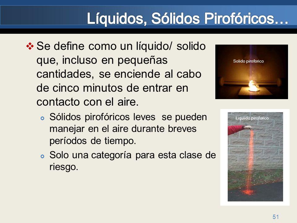 51 Se define como un líquido/ solido que, incluso en pequeñas cantidades, se enciende al cabo de cinco minutos de entrar en contacto con el aire. Sóli