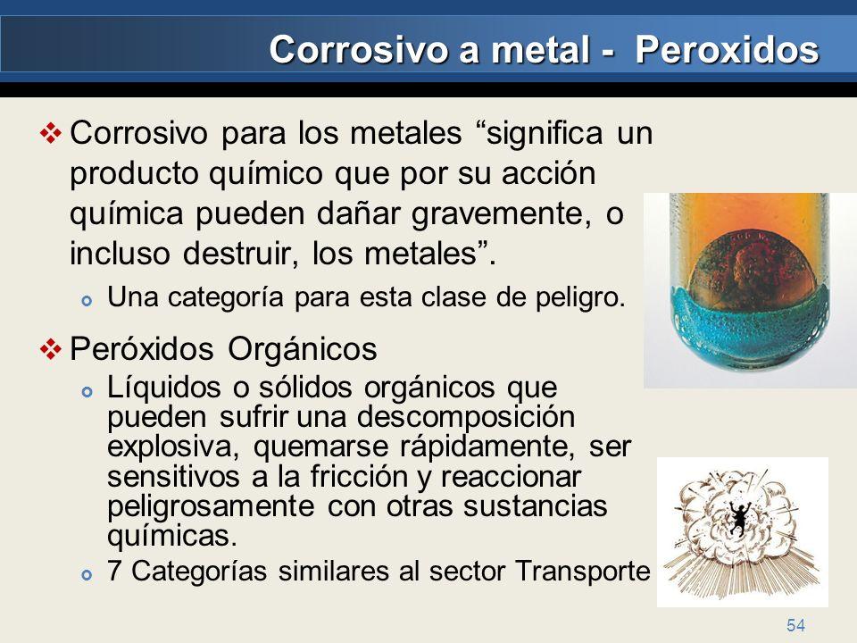 54 Corrosivo para los metales significa un producto químico que por su acción química pueden dañar gravemente, o incluso destruir, los metales. Una ca