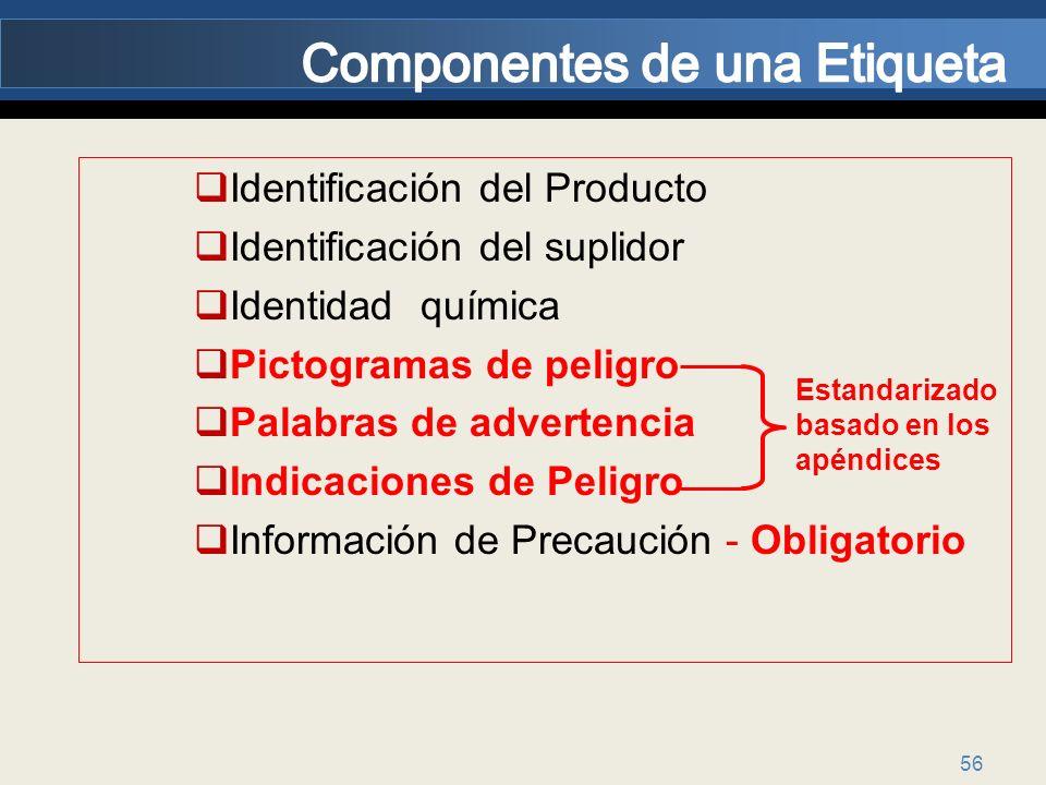 56 Identificación del Producto Identificación del suplidor Identidad química Pictogramas de peligro Palabras de advertencia Indicaciones de Peligro In