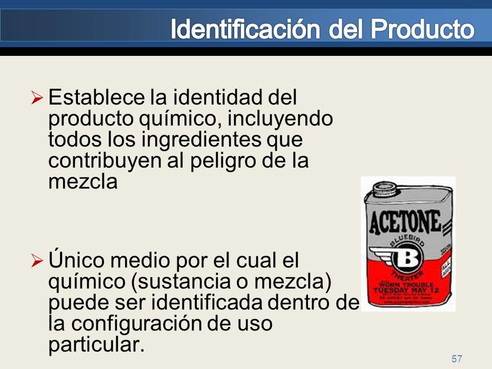 57 Establece la identidad del producto químico, incluyendo todos los ingredientes que contribuyen al peligro de la mezcla Único medio por el cual el q