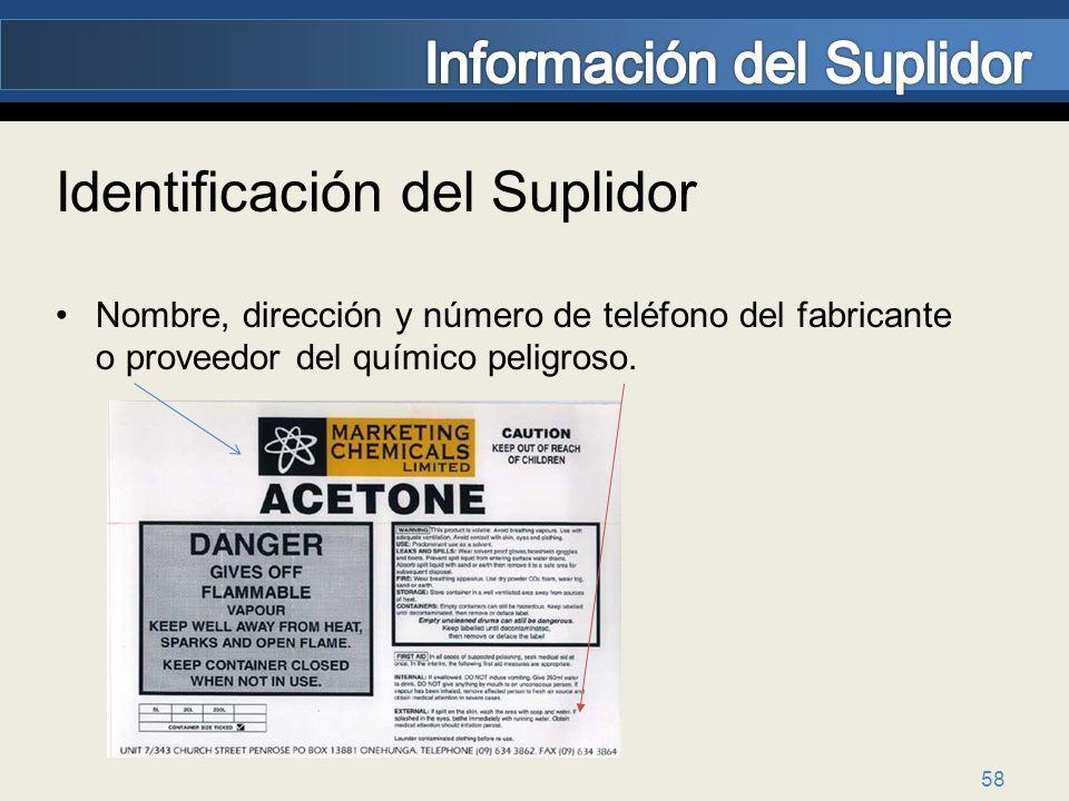 58 Identificación del Suplidor Nombre, dirección y número de teléfono del fabricante o proveedor del químico peligroso.