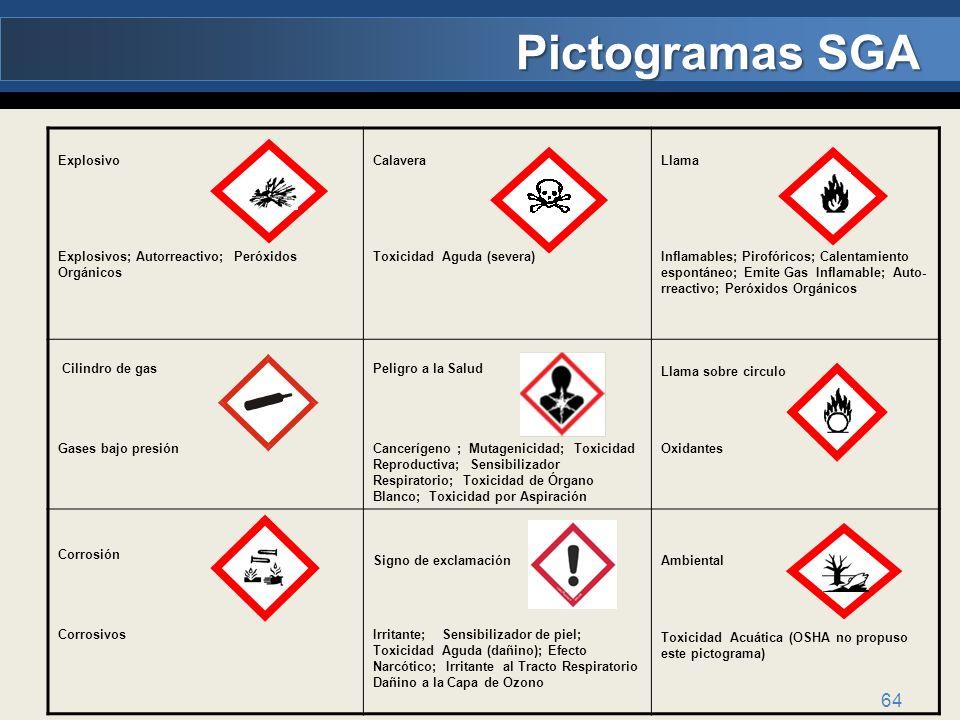 64 Explosivo Explosivos; Autorreactivo; Peróxidos Orgánicos Calavera Toxicidad Aguda (severa) Llama Inflamables; Pirofóricos; Calentamiento espontáneo