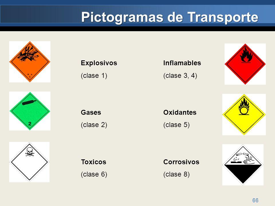 66 Pictogramas de Transporte Explosivos Inflamables (clase 1)(clase 3, 4) GasesOxidantes (clase 2)(clase 5) ToxicosCorrosivos (clase 6)(clase 8)